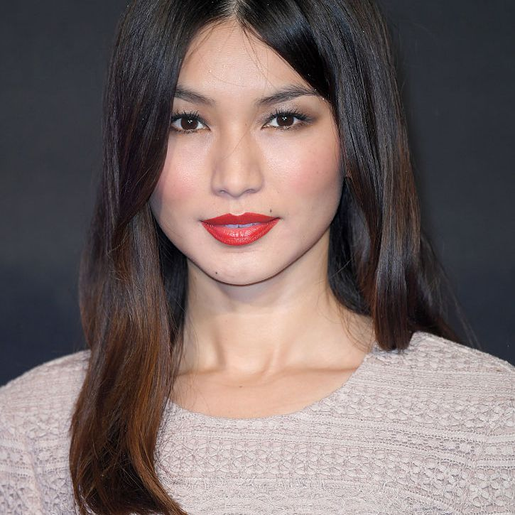 Gemma Chan long blunt haircut with red lip