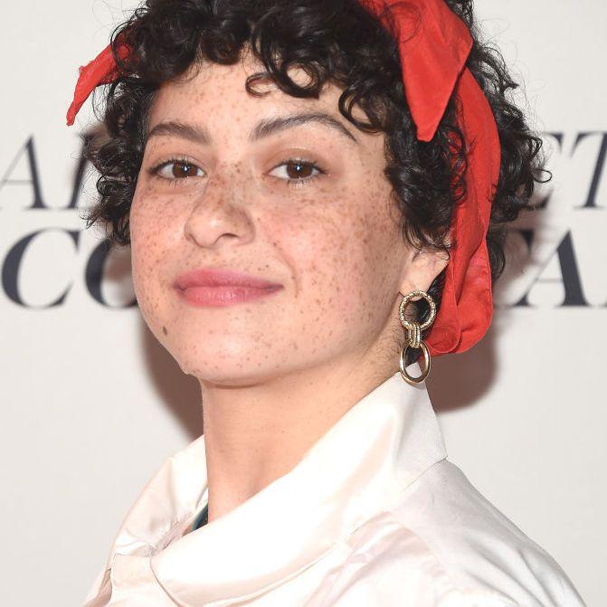 Alia Shawkat curly pixie with red headband