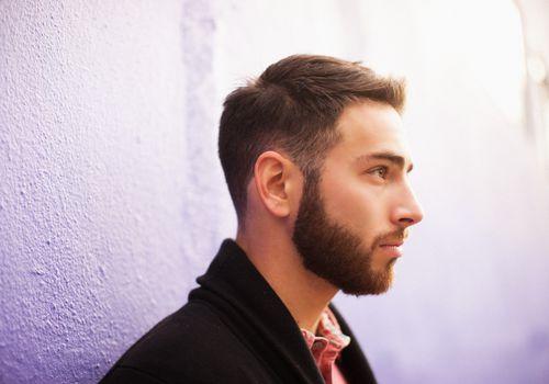 Side profile of man with beard
