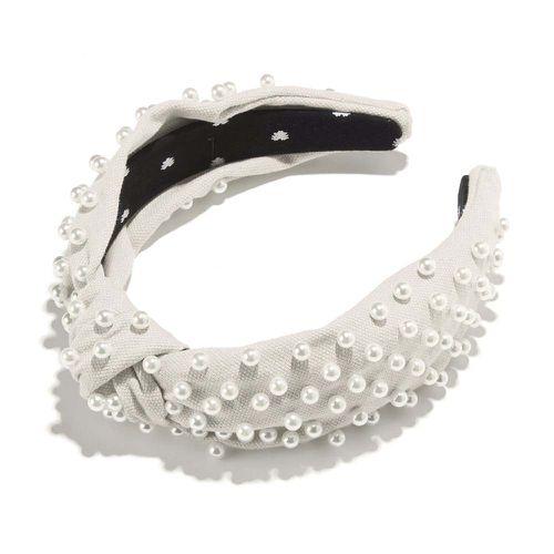 Ivory Woven Pearl Headband ($150)