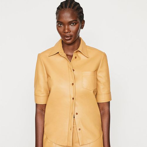 70s Short Sleeve Leather Shirt ($628)