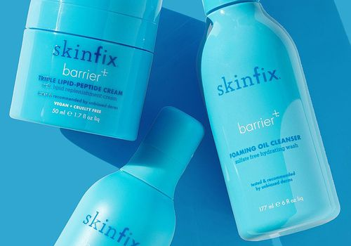 Three Skinfix products on a blue background.