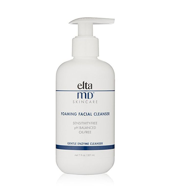 A pump container of EltaMD Foaming Facial Cleanser.