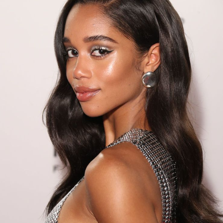 Laura Harrier long glossy hair with body