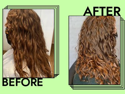 woman's scalp steam before and after phtoos