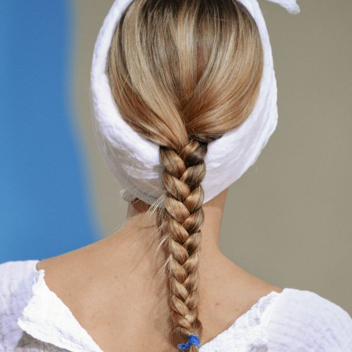 Woman with her hair in a traditional braid