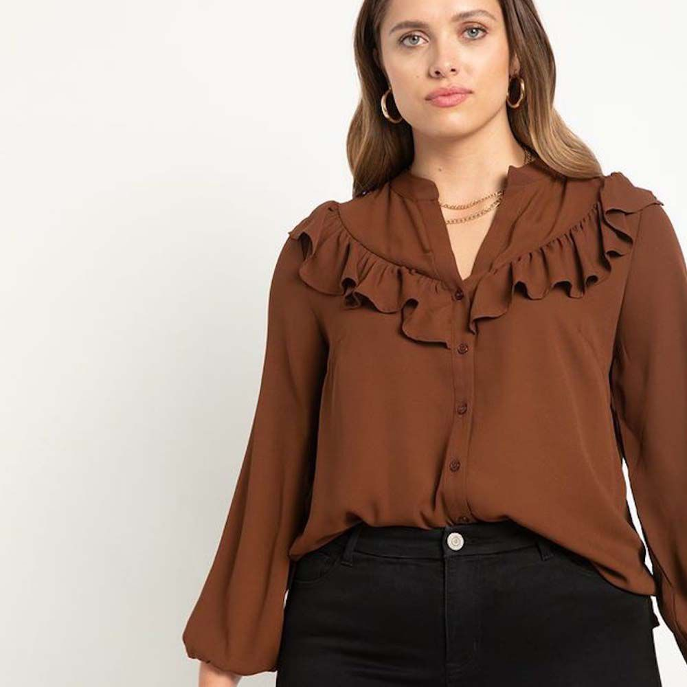 Button Down Top With Ruffle