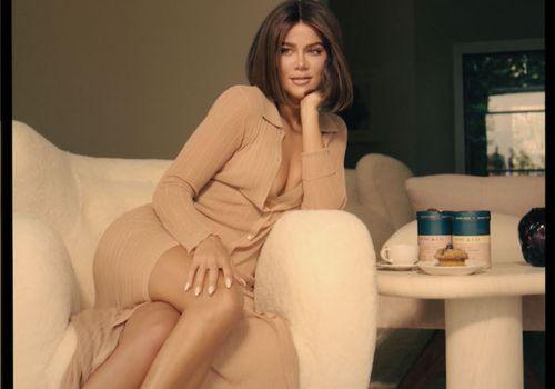 khloe kardashian on white couch