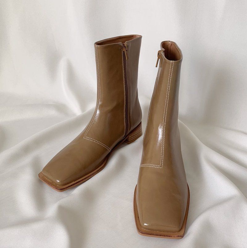Stitched Square Toe Ankle Boots