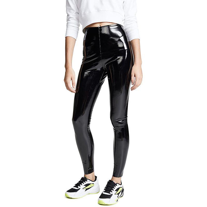 Control Top Faux Patent Leather Leggings