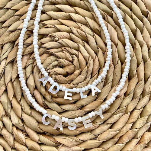 Mother of Pearl Letter Name Necklace ($38)
