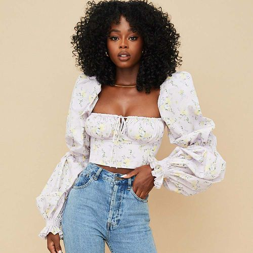 Millicent Lilac Floral Cropped Corset Top ($119)