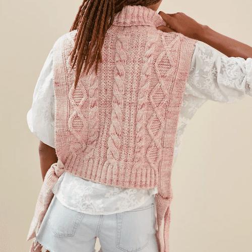 Anthropologie Cable-Knit Side-Tie Vest