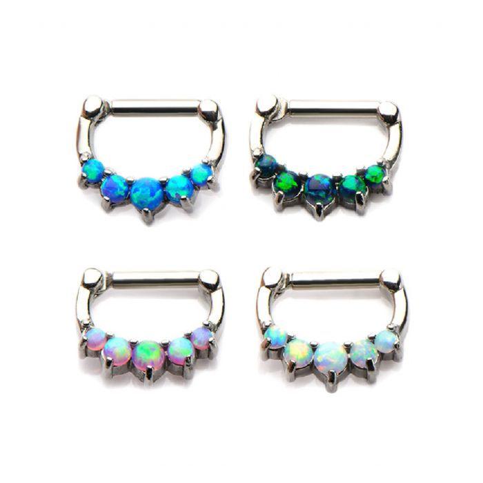 Prong Set Opal Hinged Septum Clicker Ring