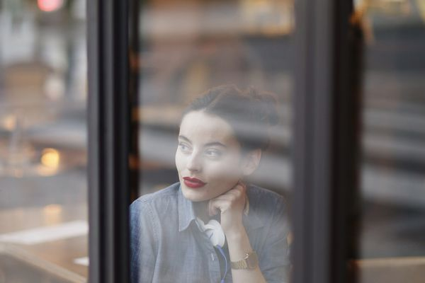 French woman in a cafe