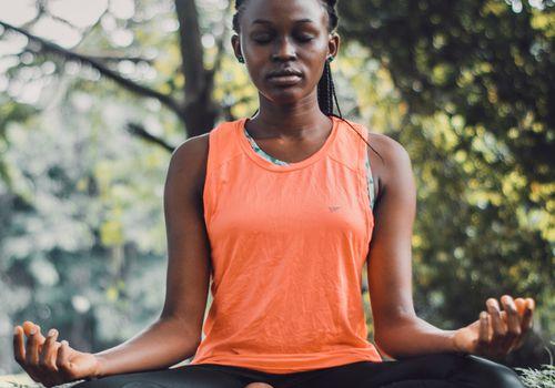 Woman meditating breathwork