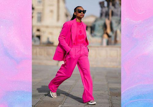 Woman wearing pink Wide Leg pants
