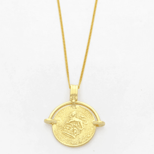 Wolf and Zephyr Sixpence Necklace