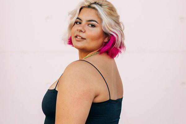 latina with pink hair