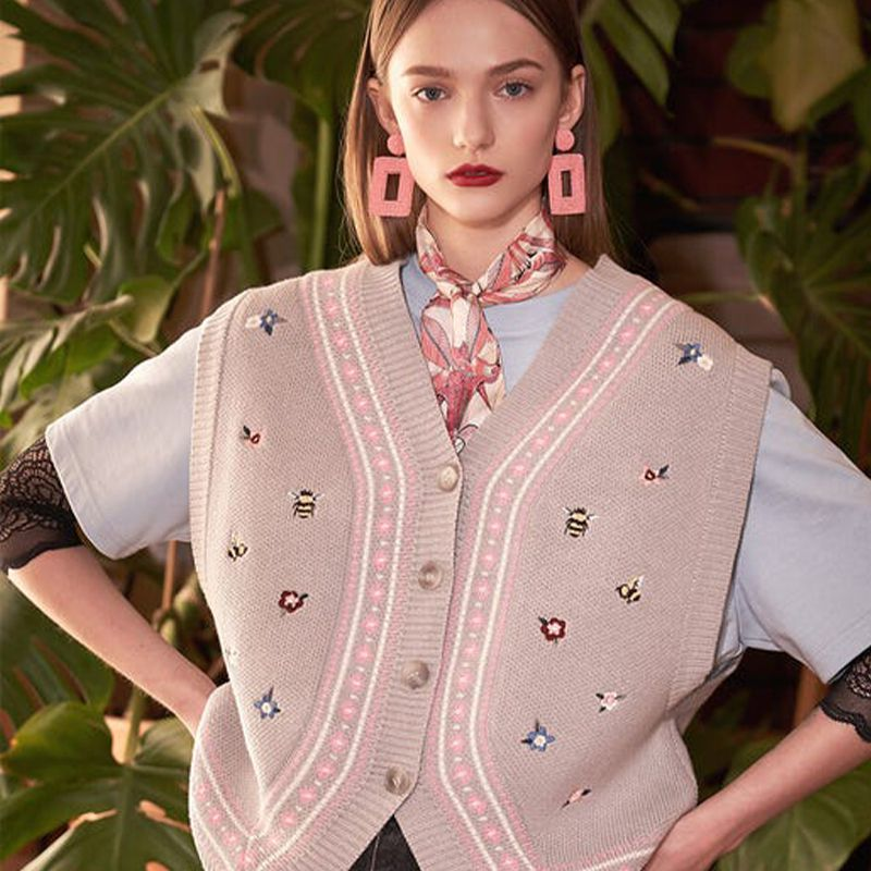 Embroidered Button-down Knit Vest