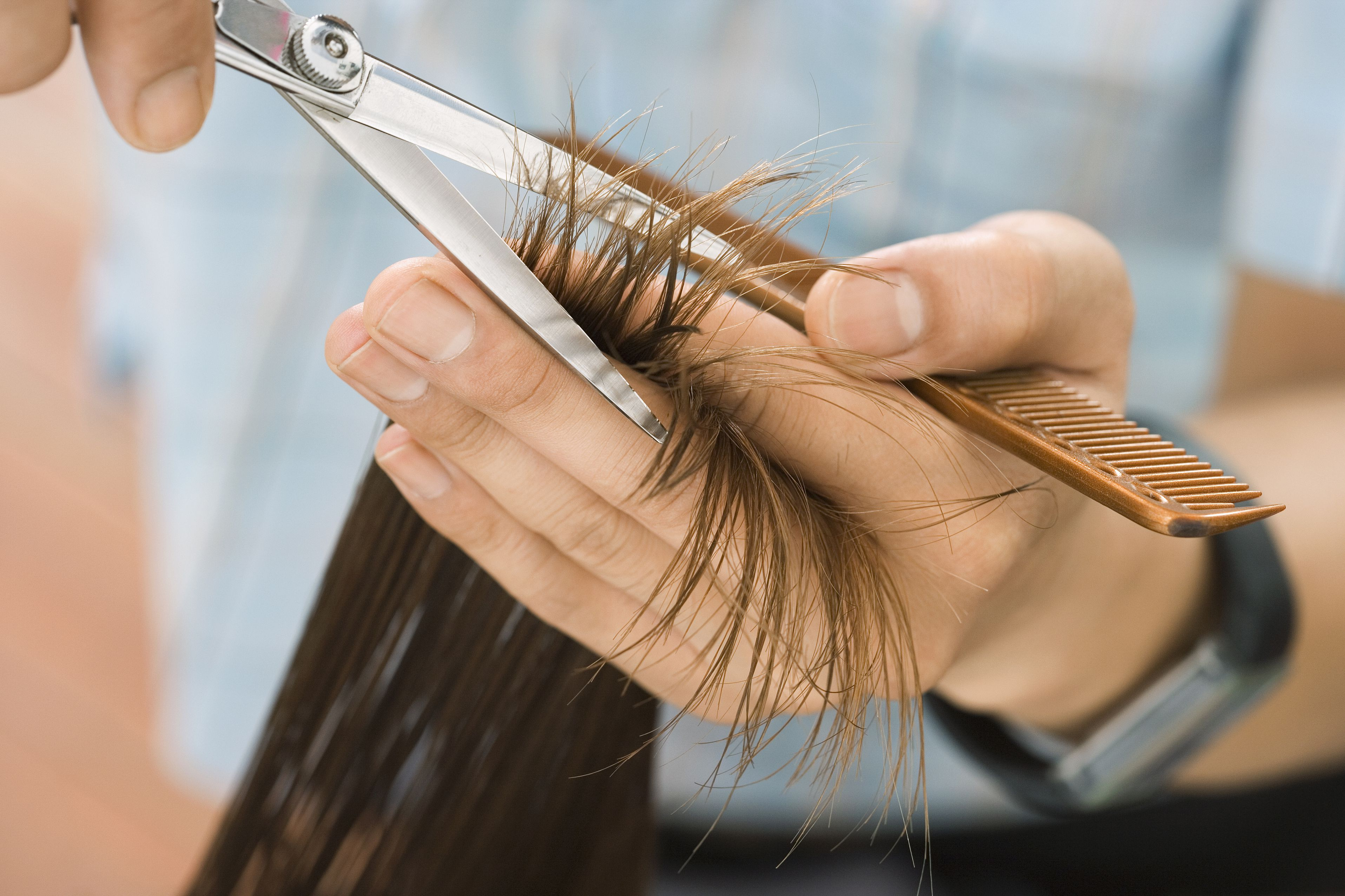 Hairdresser cutting hair in salon, focus on hair, hands and scissors, close-up