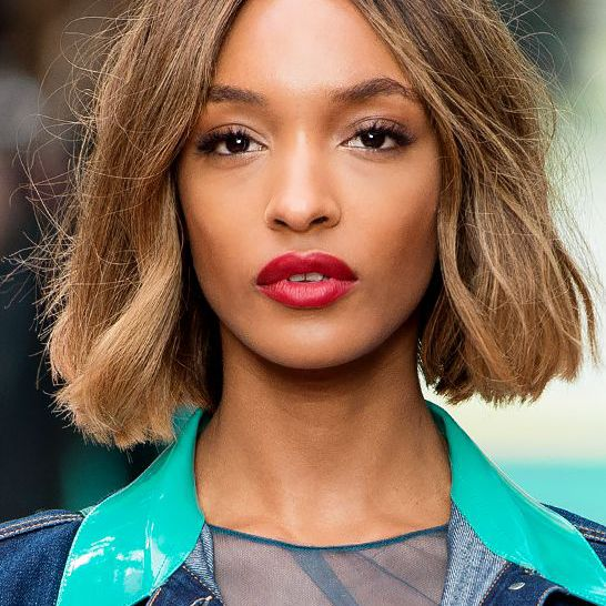 Jourdan Dunn with middle parted bob.