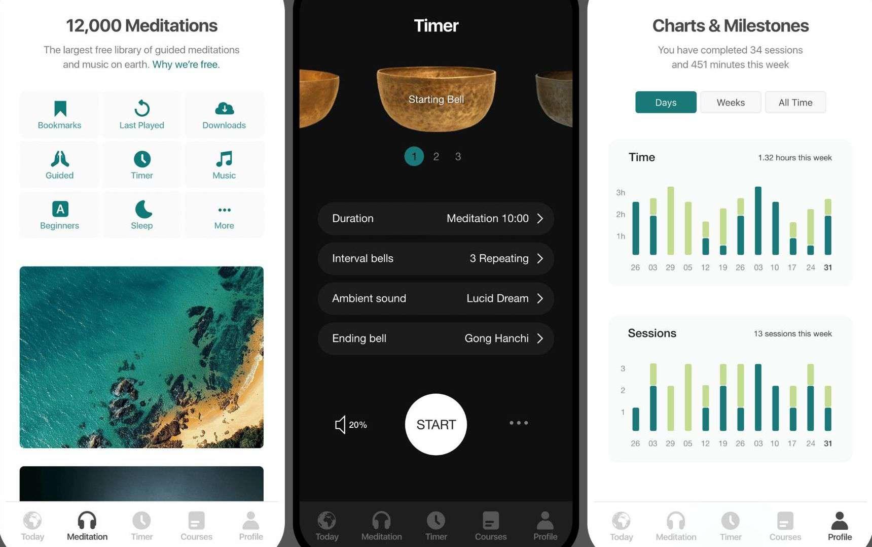 Three screenshots of the Insight Timer app.