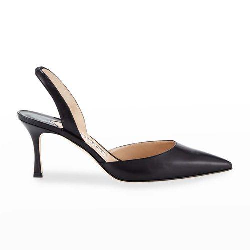 Carolyne Leather Mid-Heel Halter Pumps ($695)