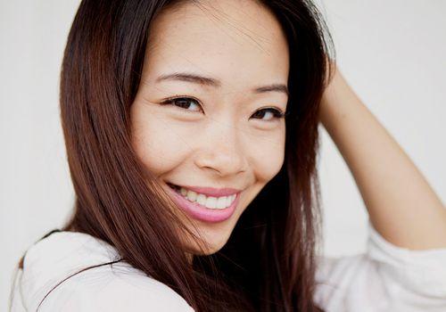 happy person portrait healthy hair line