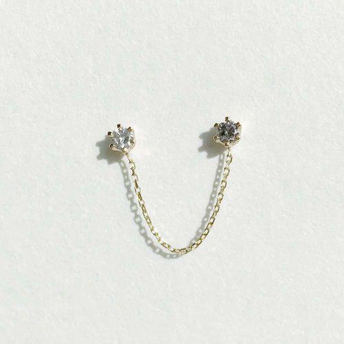 Double 6 Prong Grey Diamond Stud ($275)