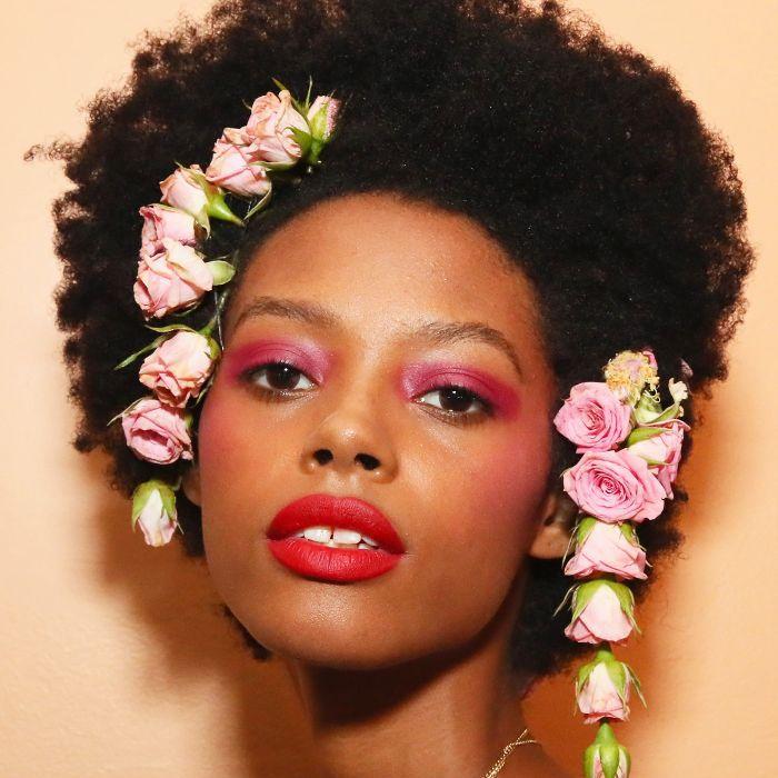 Model wearing flowers in her hair