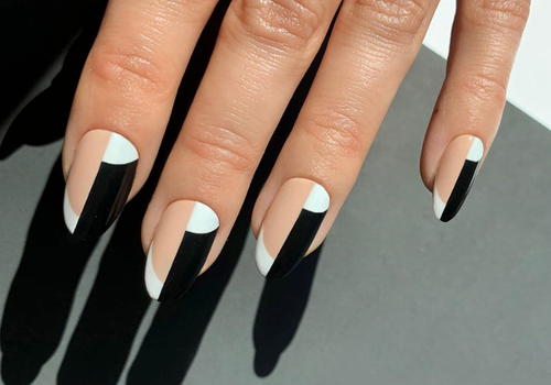 black, white, and nude nails